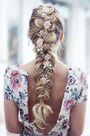 Blonde Braid with Flowers
