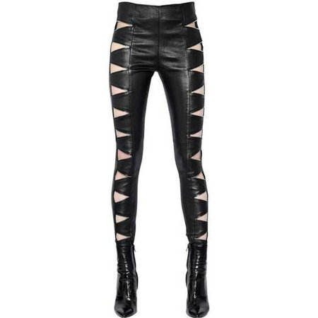 cut out ysl leather pants