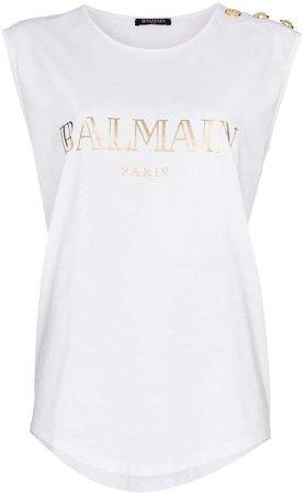sleeveless logo t-shirt