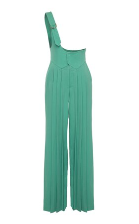 Plissé One Shoulder Wool Jumpsuit by SITUATIONIST | Moda Operandi