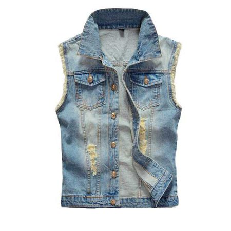 Large Size Mens Denim Vest Vintage Sleeveless Ripped washed jeans waistcoats Cheap - NewChic