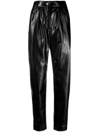MSGM Palazzo Matte Black Trousers - Farfetch