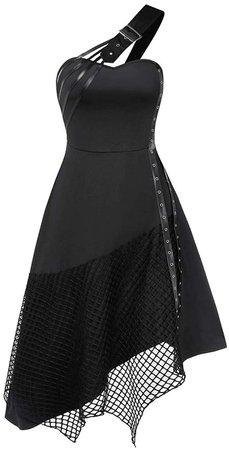Women Strapless Sleeveless Gothic Dresses Vintage Retro Cocktail Dress (Black, S) at Amazon Women's Clothing store