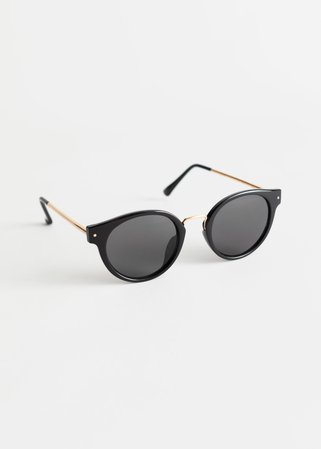 Rounded Gold Bridge Sunglasses - Black - Round frame - & Other Stories