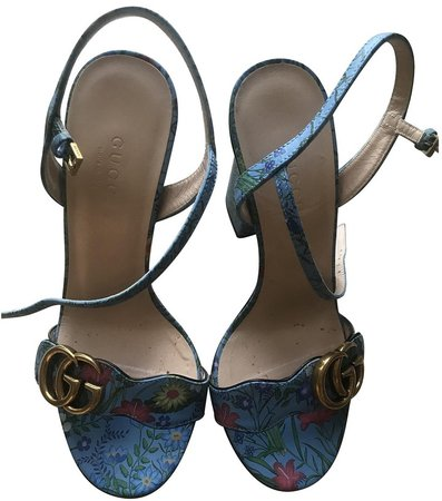 Marmont Blue Leather Sandals