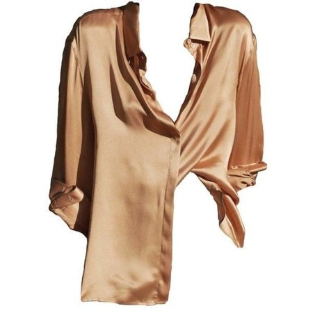 silky creme colored shirt