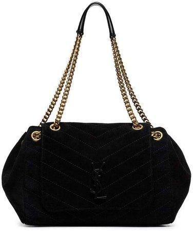 black Nolita large quilted suede shoulder bag