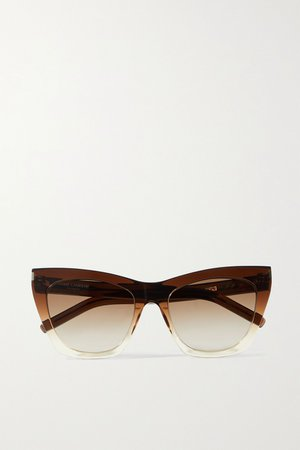 Brown Kate cat-eye acetate sunglasses | SAINT LAURENT | NET-A-PORTER