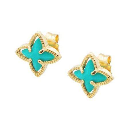 Earrings | Shop Women's Ocean Teal Enamel Stud Earrings at Fashiontage | 405339T