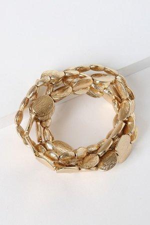 Cute Gold Bracelets - Gold Beaded Bracelets - Gold Bracelet Set