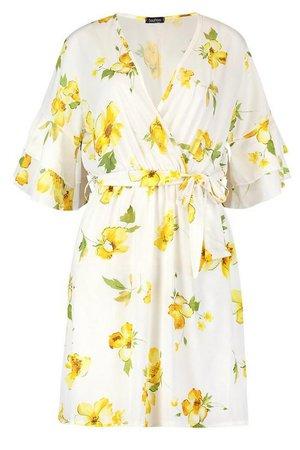 Ruffle Sleeve Floral Tea Dress | Boohoo white