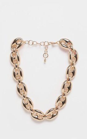 Gold Circular Linked Chunky Chain Necklace   PrettyLittleThing
