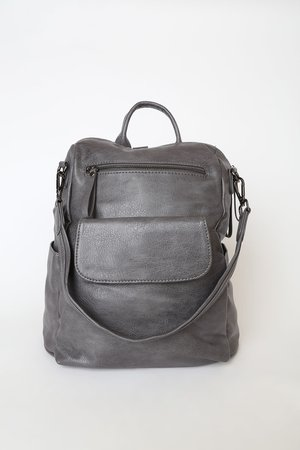 Grey Backpack - Vegan Leather Backpack - Grey Book Bag - Lulus