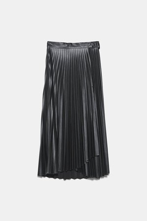 FAUX LEATHER PLEATED SKIRT-NEW IN-TRF | ZARA United States