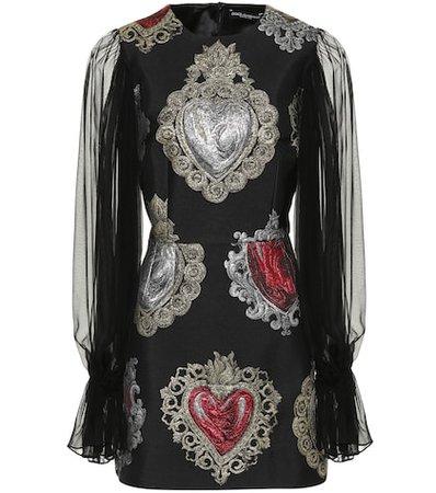 Heart jacquard silk-blend dress