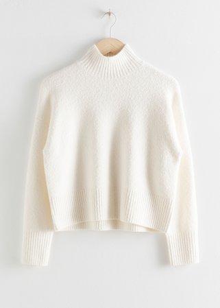 Cropped Mock Neck Sweater - White - Turtlenecks - & Other Stories