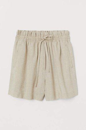 Linen-blend Shorts High Waist - White