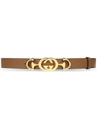 Gucci Leather Belt With Interlocking G Horsebit Ss20 | Farfetch.com