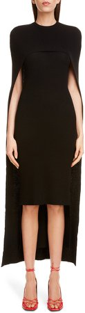 Ribbed Wool Body-Con Sweater Dress with Cape
