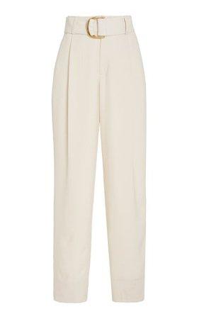 Belted Pleated Crepe Wide-Leg Trousers By Vince | Moda Operandi