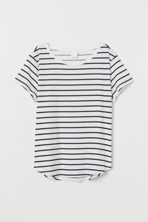 T-shirt - White/blue striped - Ladies   H&M US