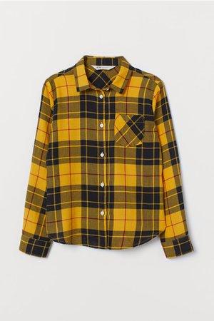 Cotton Flannel Shirt - Yellow/black plaid - Kids   H&M US