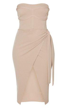 Taupe Binding Detail Tie Wrap Bandeau Midi Dress   PrettyLittleThing