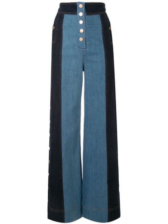 Electric Memories Panelled Jeans In Blue