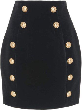 Button-Embellished Cotton-Velvet Mini Skirt
