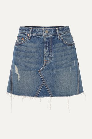 GRLFRND | Eva distressed denim mini skirt | NET-A-PORTER.COM