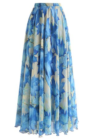 Blue Maple Watercolor Maxi Skirt - Retro, Indie and Unique Fashion