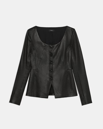 Scoop Jacket in Leather | Theory