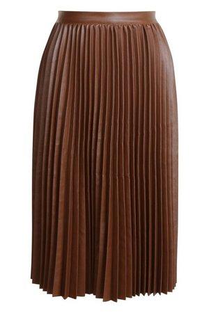 Pleated Leather Look Midi Skirt | Boohoo