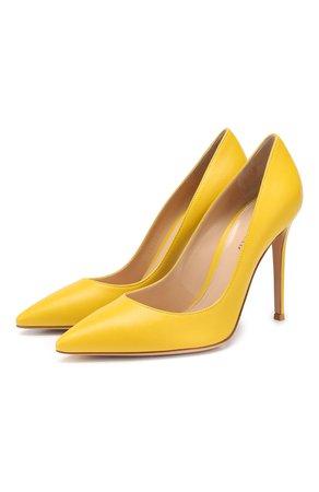 Женские желтые кожаные туфли gianvito 105 GIANVITO ROSSI — купить за 39950 руб. в интернет-магазине ЦУМ, арт. G28470.15RIC.NAPMIM0