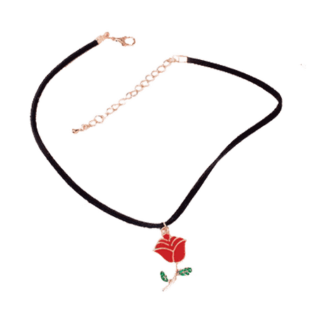 itGirl Shop | ACRILIC RED ROSE NECKLACE CHOKER