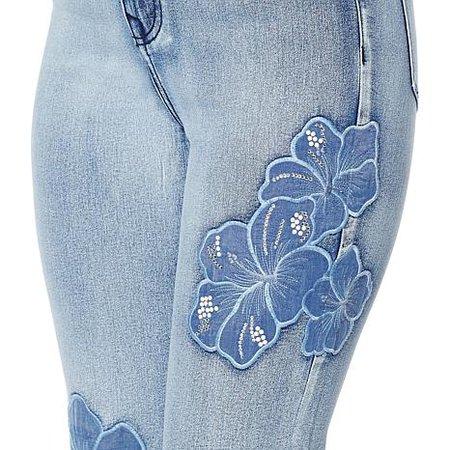 DG2 by Diane Gilman sorbet wash floral applique ankle jean