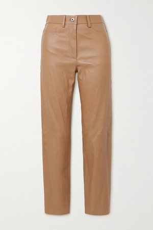 Teddy Leather Tapered Pants - Camel