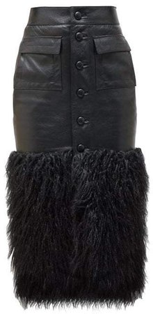 Faux Fur Trim Leather Skirt - Womens - Black