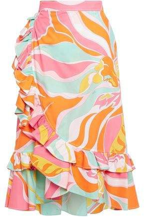 Ruffled Printed Cotton Wrap Skirt