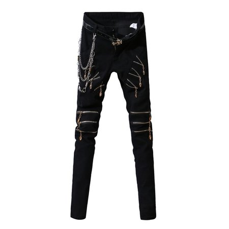 Men's Pants Punk Personality Skull Zipper Decoration Slim Feet Youth Trousers Streetwear Men Clothing 2018 Hip Hop Pants Men-in Skinny Pants from Men's Clothing on Aliexpress.com | Alibaba Group