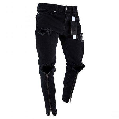 Jamickiki 2018 New Casual Mens Hip Hop Street Style Design Skinny Long Jeans Pants, Ripped Denim Jeans Pants, Sport Denim Trousers. | Wish