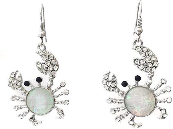 Amazon.com: Crab Iridescent Foil Rhinestone Silver Tone Dangle Earrings (White): Clothing
