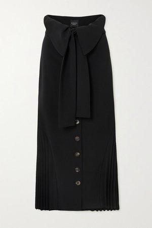 Draped Pleated Crepe Skirt - Black
