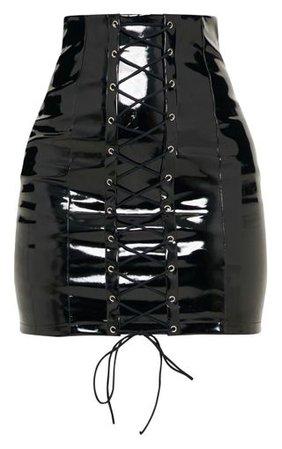 Black Vinyl Lace Up Mini Skirt   Skirts   PrettyLittleThing