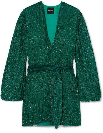 Retrofête - Exclusive Gabrielle Velvet-trimmed Sequined Chiffon Mini Wrap Dress - Emerald