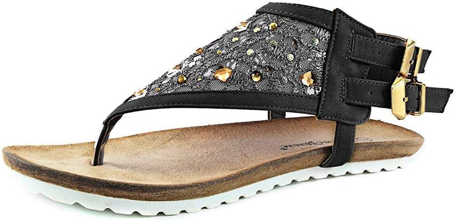 Nature Breeze Women's Urban Lace & Sequin Thong Sandals Flat Mesh Rhinestone Sandal Shoes