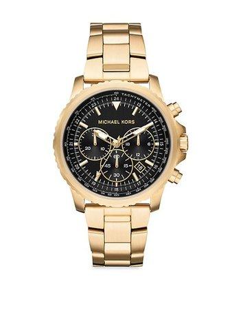 Michael Kors Cortlandt Goldtone Chronograph Stainless Steel Bracelet Watch | SaksFifthAvenue
