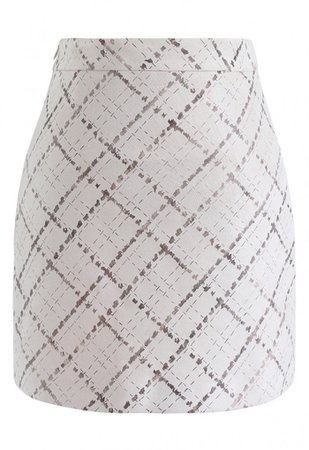Grid Pattern Faux Suede Bud Skirt in Cream - NEW ARRIVALS - Retro, Indie and Unique Fashion