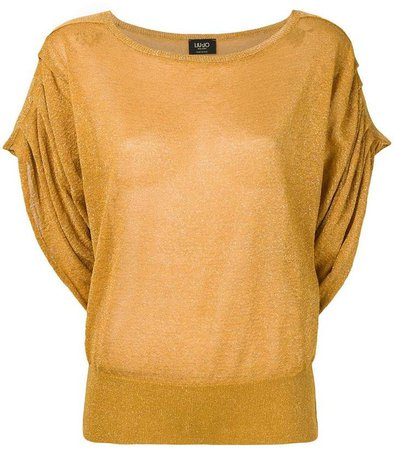 short-sleeve draped top