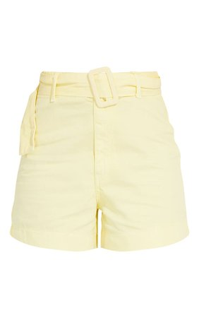 Lemon Belted High Waist Denim Shorts   Denim   PrettyLittleThing USA